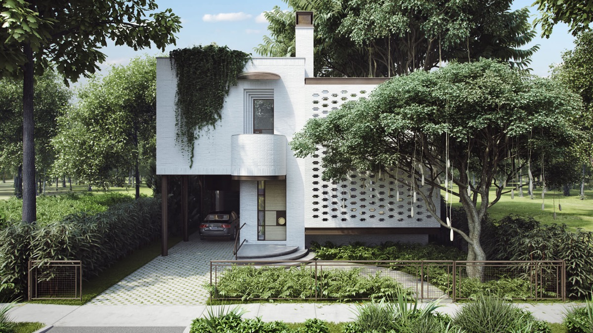 white-draping-with-ivy-modern-home-facades